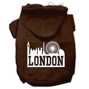 London Skyline Screen Print Pet Hoodies Brown Size XS (8)